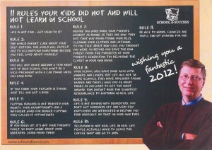 Picture of rules your kids did not and will not learn in school by Bill Gates